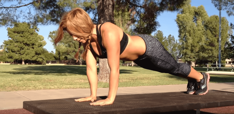 Woman push up outdoor