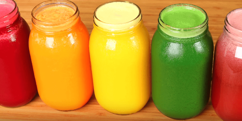 5 glasses of juices