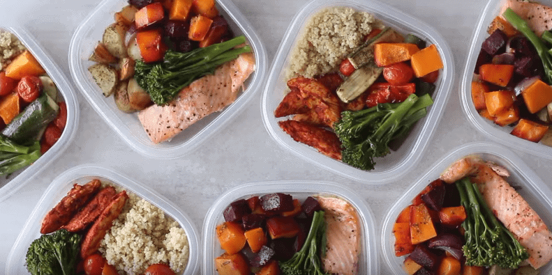 Meal prepped into containers