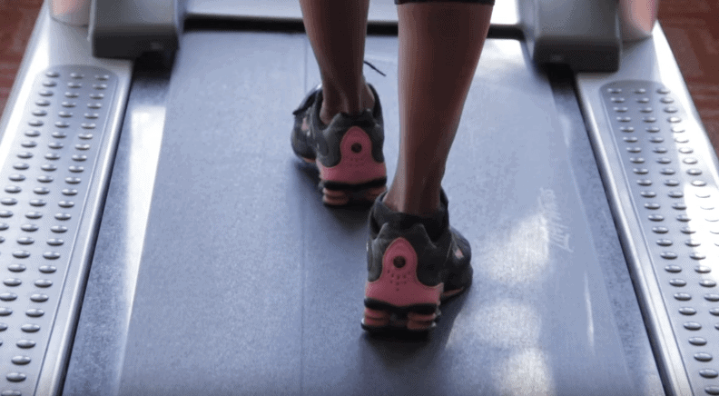 Close up shot of a person on treadmill