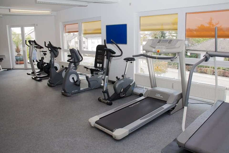 Exercise equipments in a gym