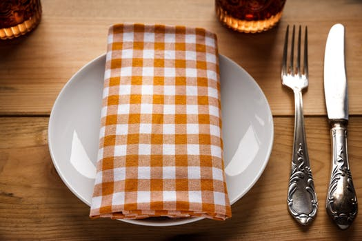 Napkin on a plate and silverware on a table