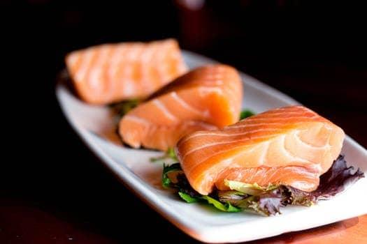 3 pieces of salmon