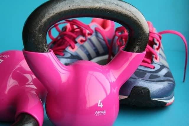 Pink kettlebells
