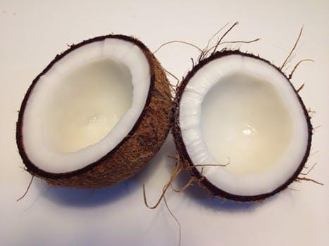 Coconut cut into half