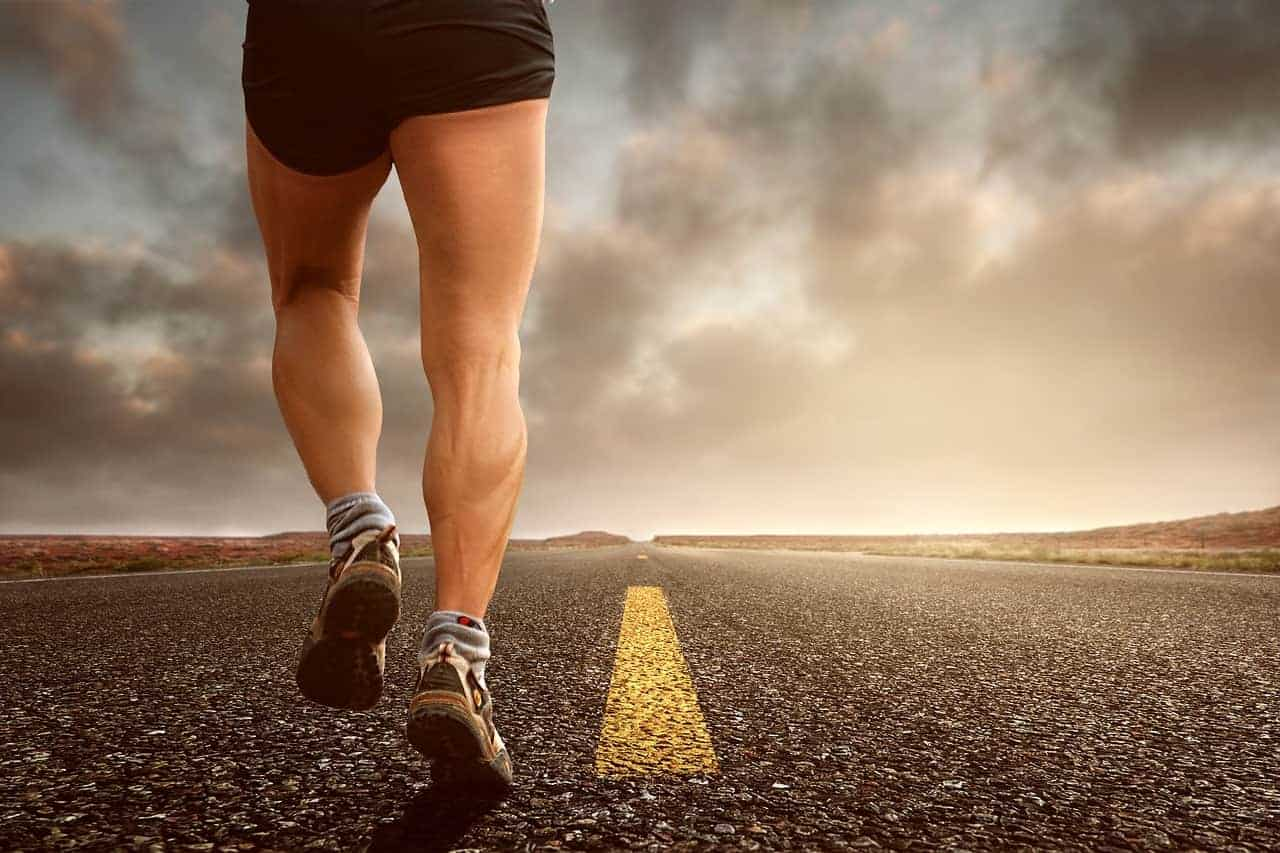 A person jogging on the road