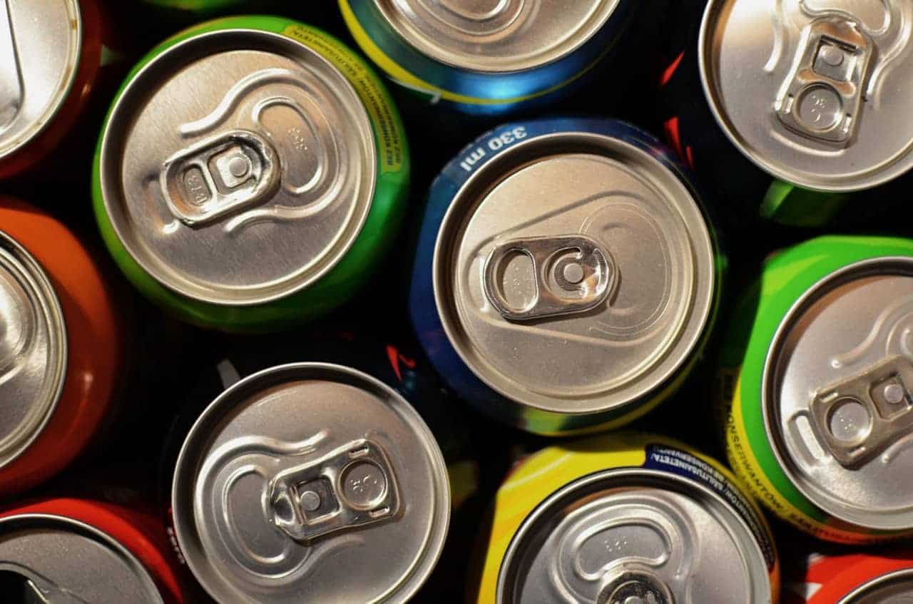 Top view of some canned drinks