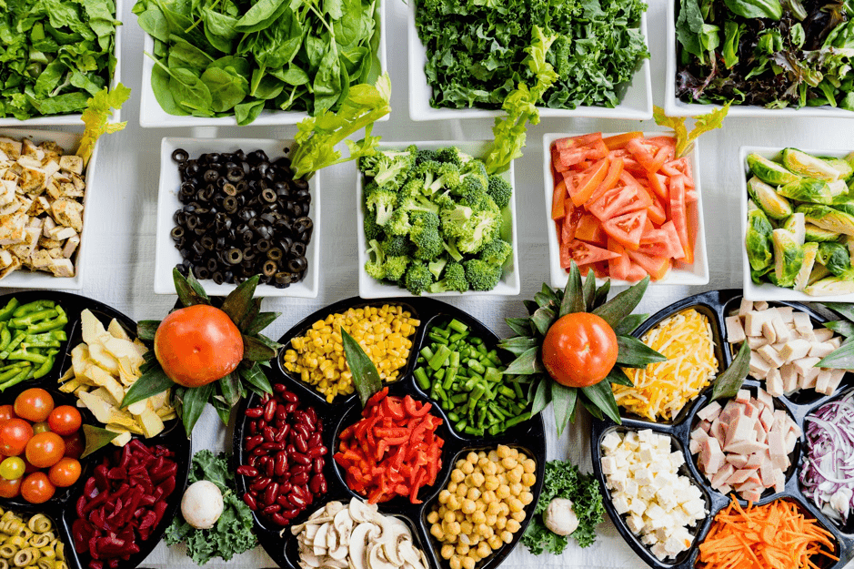 Plates of various types of vegetables