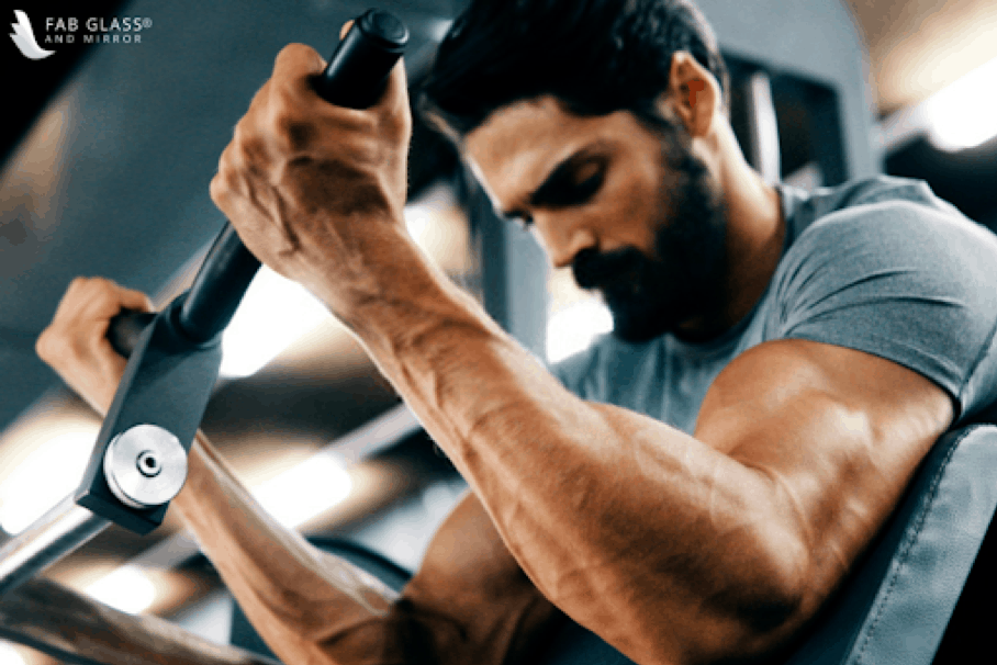 Man working out with a fitness equipment