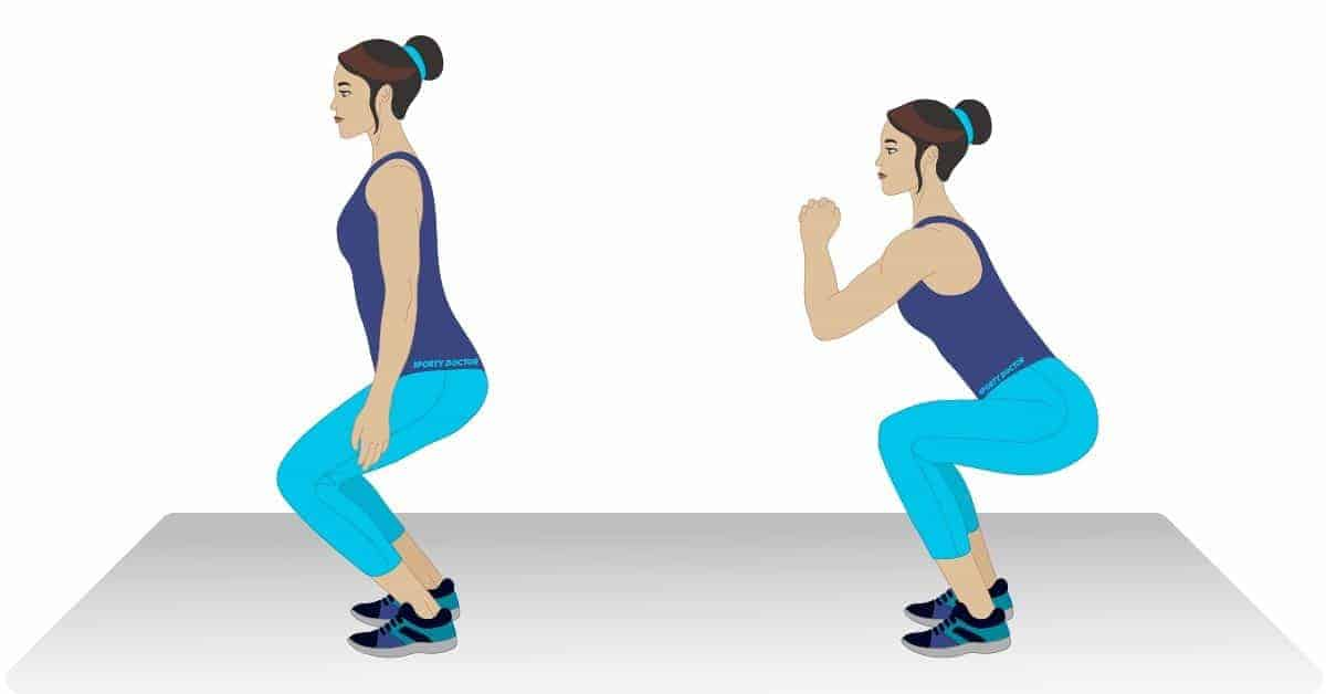 Graphic of woman doing squat