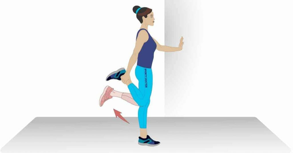 Graphic of a woman doing standing quad stretch