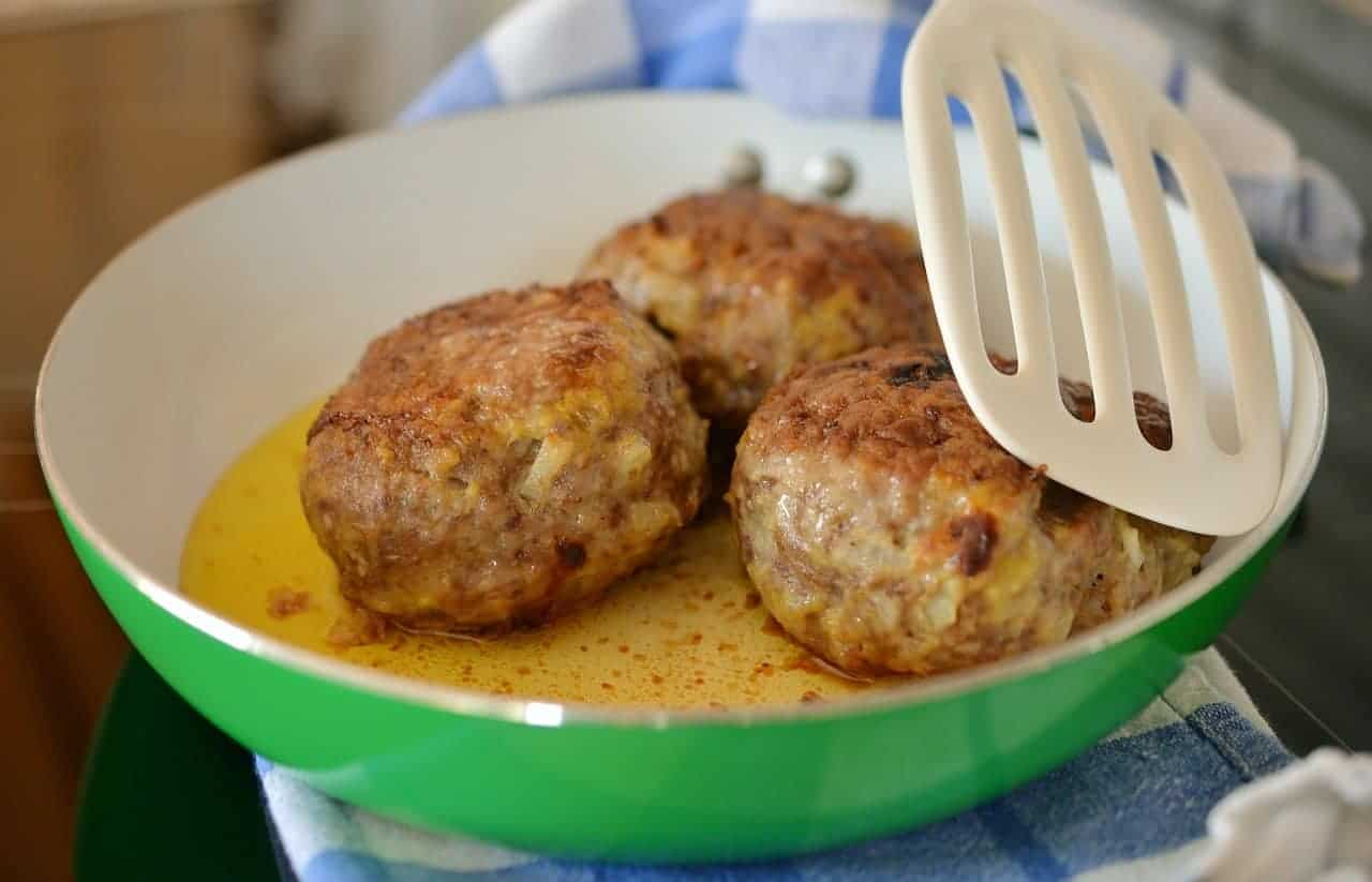 Cooking meatballs on a pan