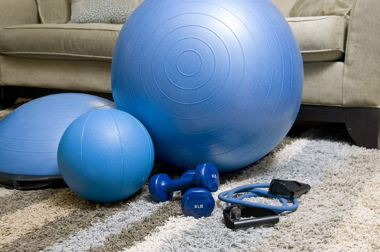 Blue coloured fitness equipments at home