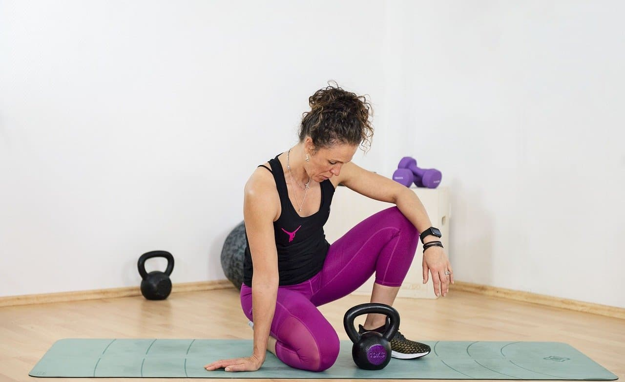 Woman with a kettlebell